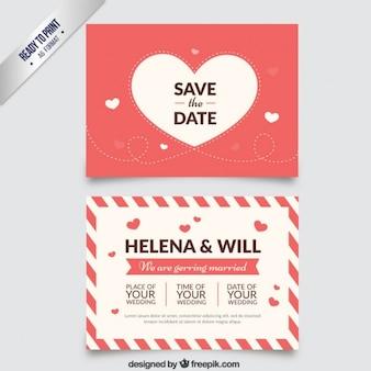 Wedding invitation with a big heart