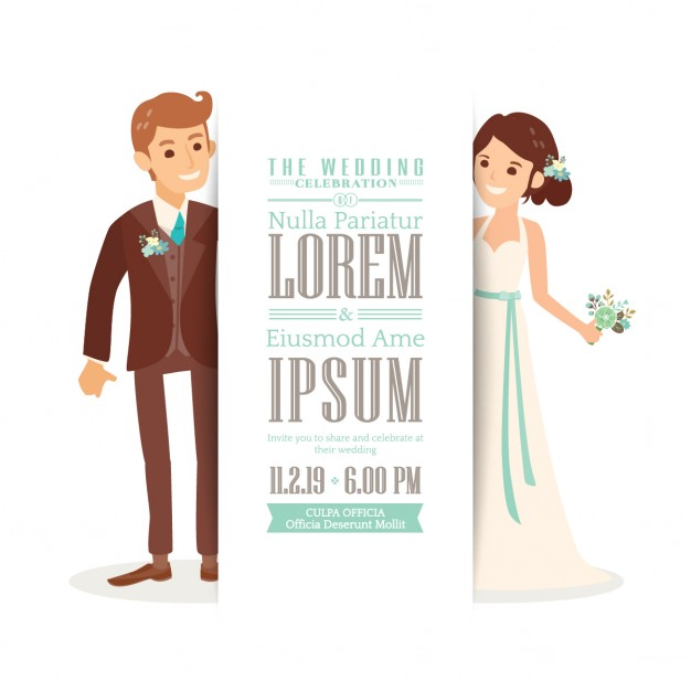 Wedding invitation with a cute bride and groom