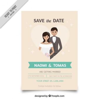 Wedding invitation with a cute couple inside a heart