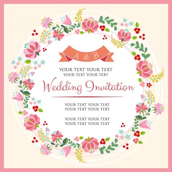 Wedding invitation with a floral wreath