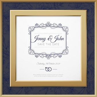 Wedding invitation with a golden frame