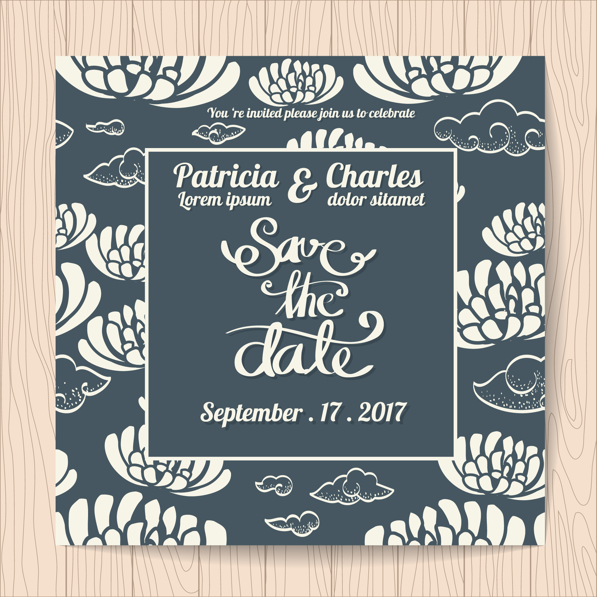 Wedding invitation with abstract background