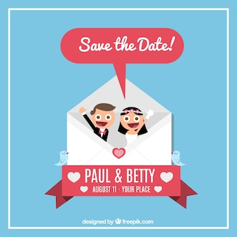 Wedding invitation with bride and groom inside an envelope