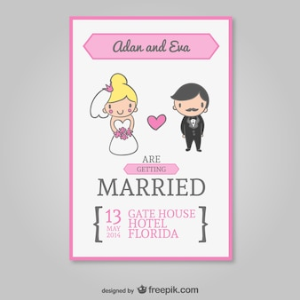 Wedding invitation with cartoon bride and groom