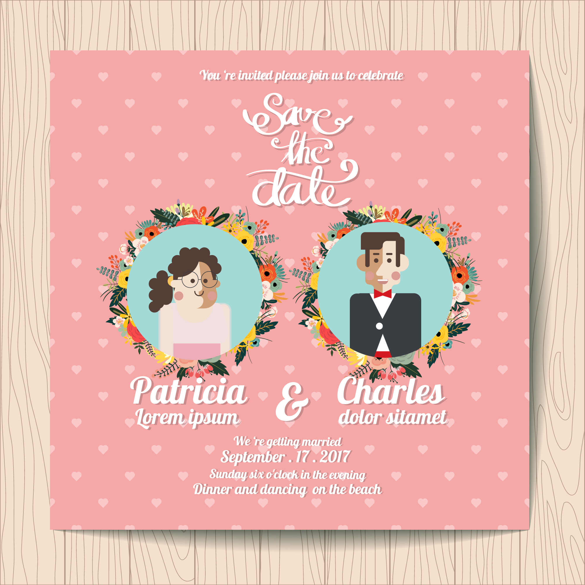 Wedding invitation with character inside floral wreaths