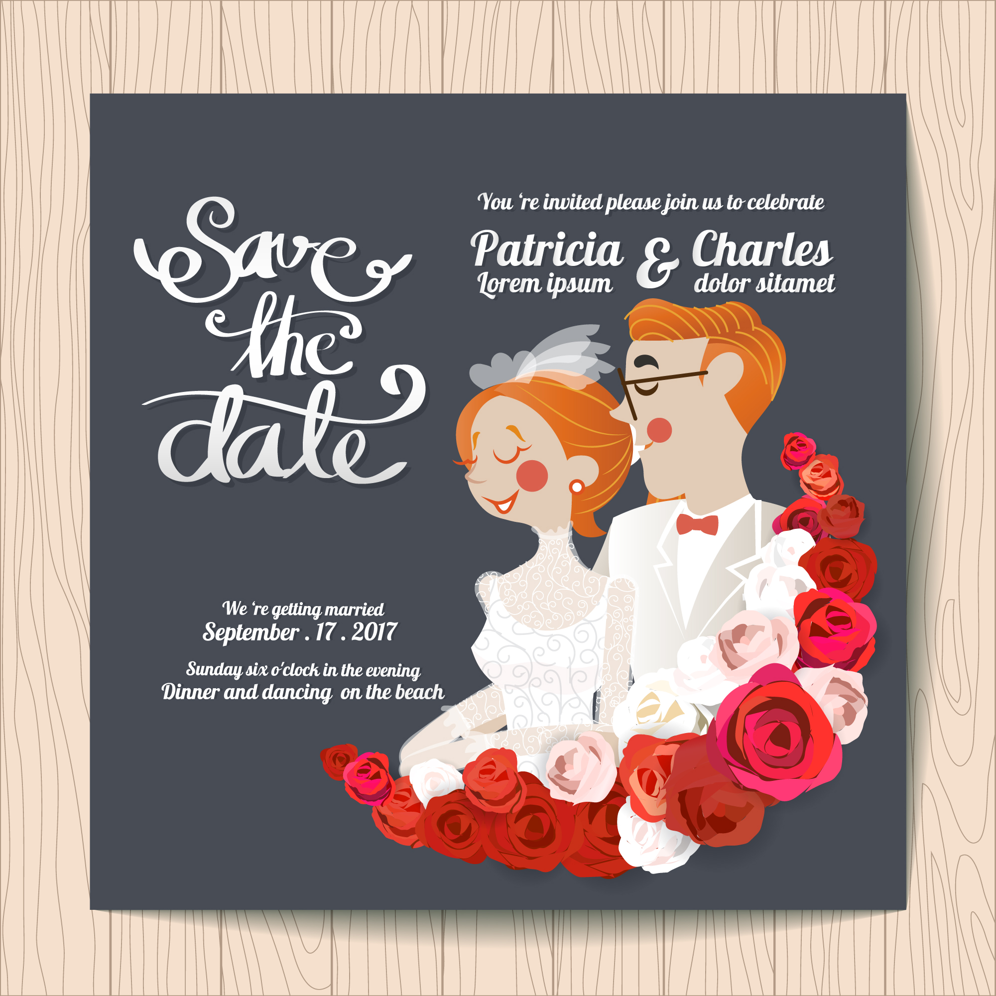 Wedding invitation with characters and red roses