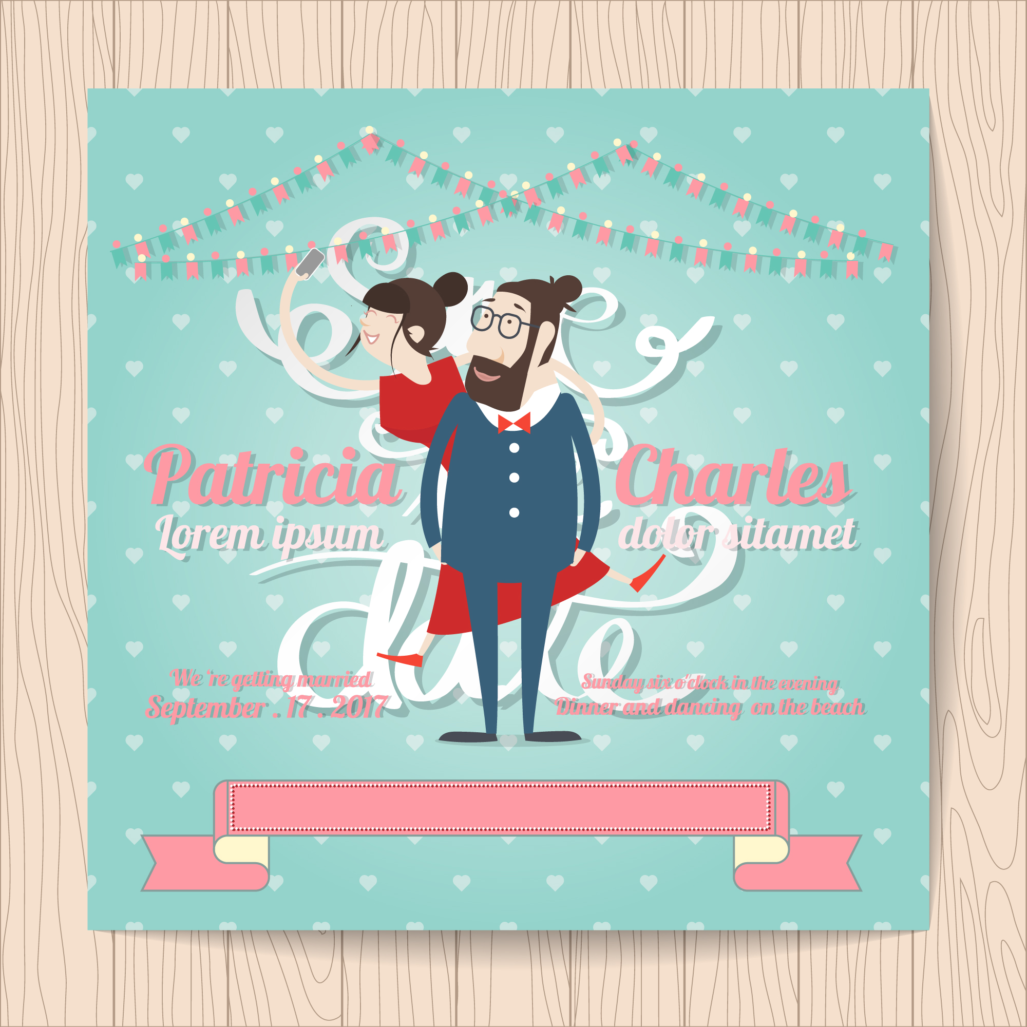 Wedding invitation with characters and ribbon