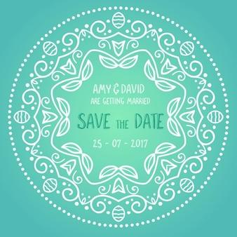 Wedding invitation with circular ornaments