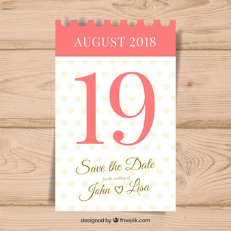 Wedding invitation with classic calendar