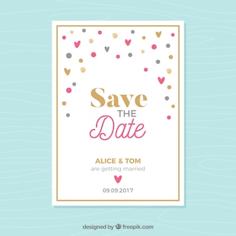 Wedding invitation with colorful hearts