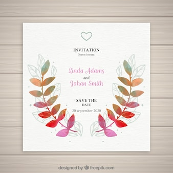 Wedding invitation with colorful leaves