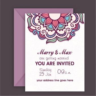 Wedding invitation with colorful mandala