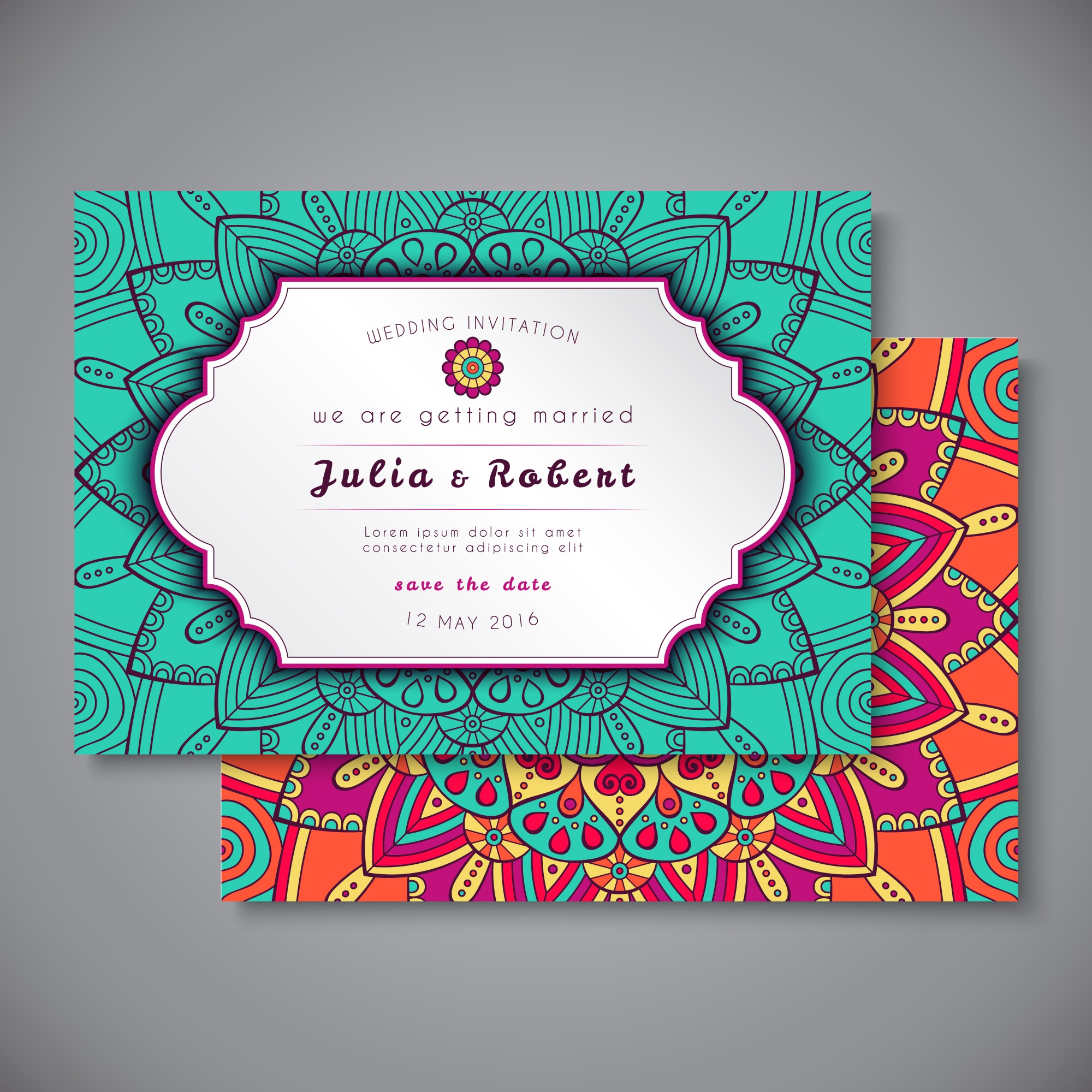 Wedding invitation with colorful ornaments