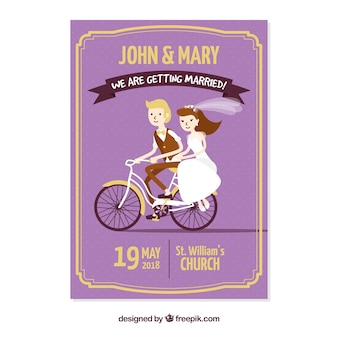 Wedding invitation with couple riding bicycle