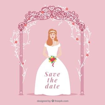 Wedding invitation with cute bride
