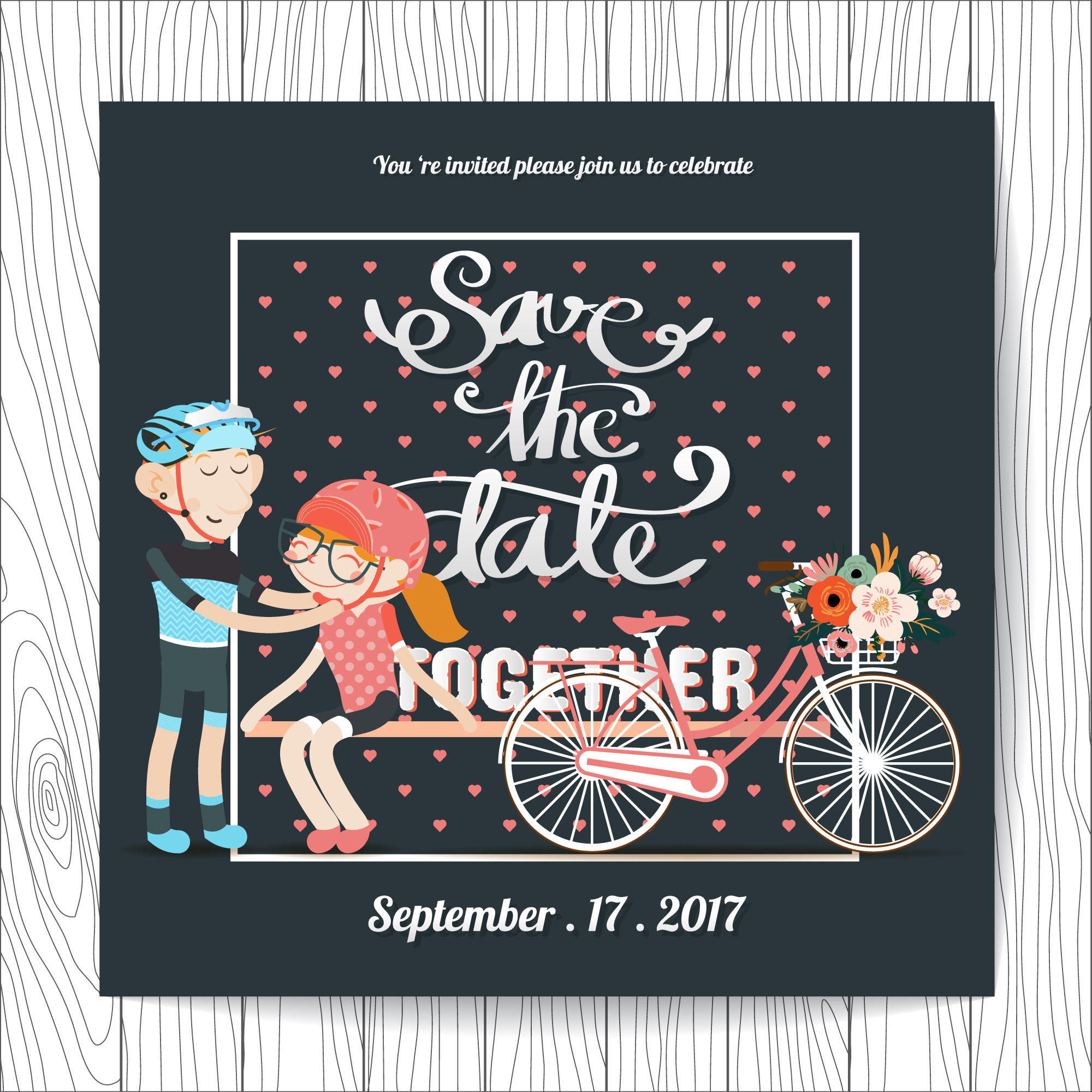 Wedding invitation with cycling design