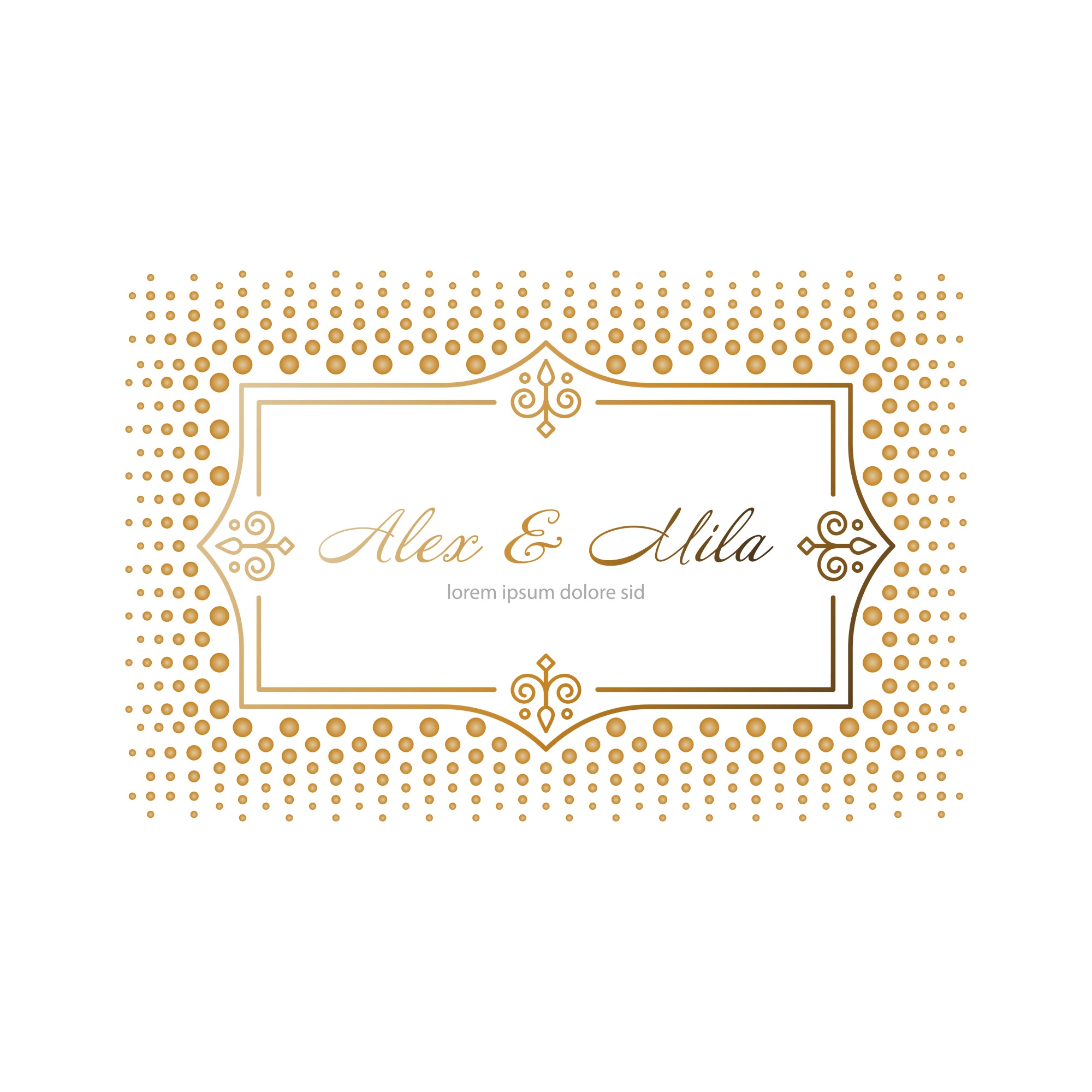 Wedding invitation with dotted frame