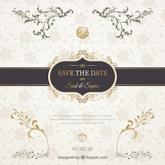 Wedding invitation with elegant black ribbon
