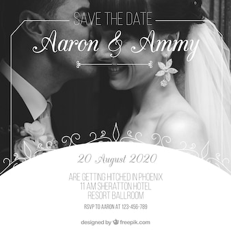 Wedding Invitation with Elegant Lettering