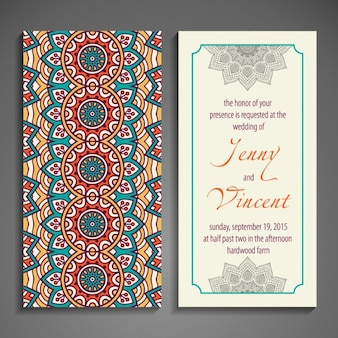 Wedding invitation with ethnic forms