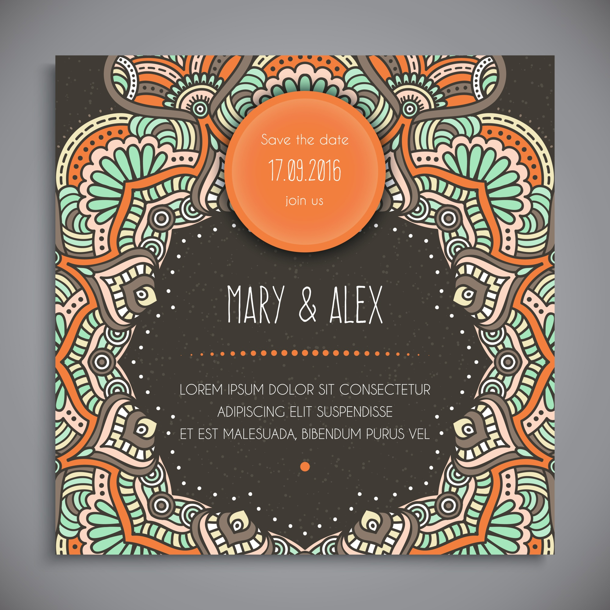 Wedding invitation with ethnic ornaments