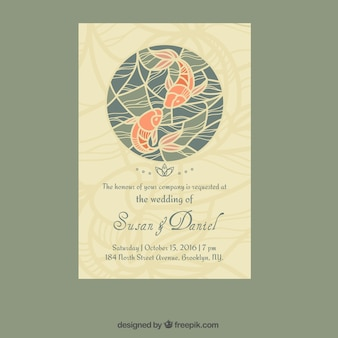 Wedding invitation with fishes design in japanese style