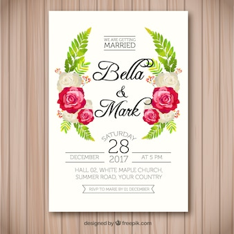 Wedding invitation with flat flowers