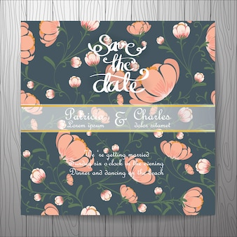 花の背景と結婚式の招待状