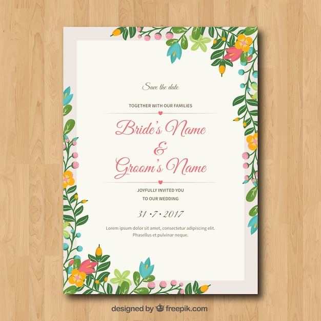 wedding invitation with floral frame_23 2147640264?size=338&ext=jpg invitation card vectors, photos and psd files free download,Invitation Cards Free Download