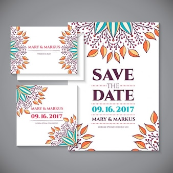 Wedding invitation with floral ornamental details