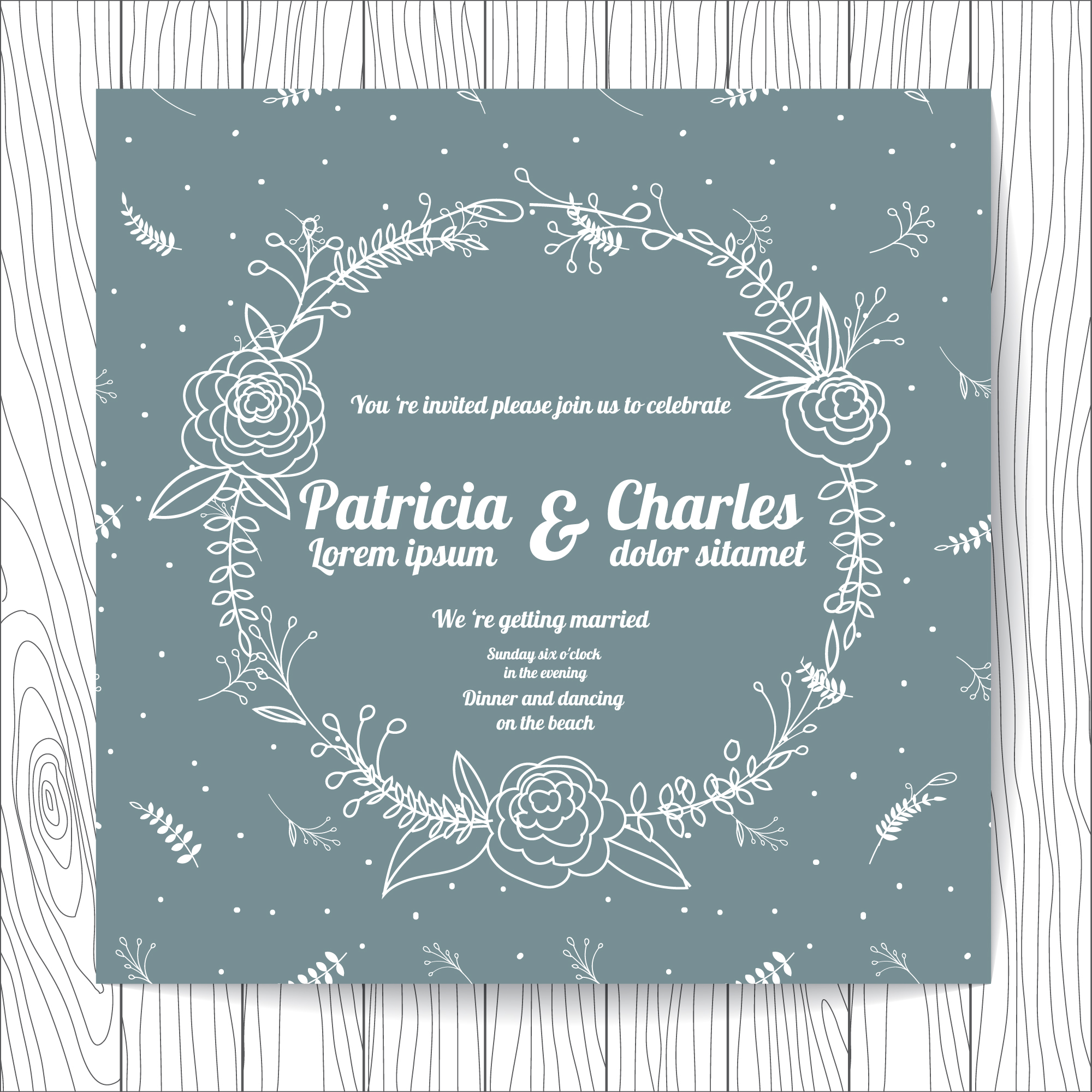 Wedding invitation with floral wreath and leaves pattern background