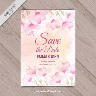 Wedding invitation with flowers watercolor