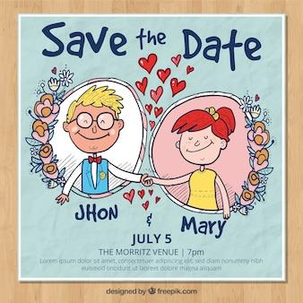 Wedding invitation with hand drawn couple