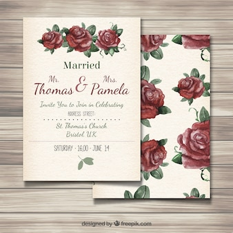 Wedding invitation with hand painted roses