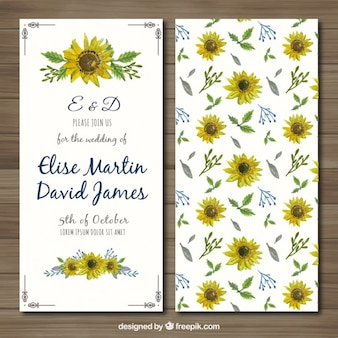 Wedding invitation with hand painted sunflowers
