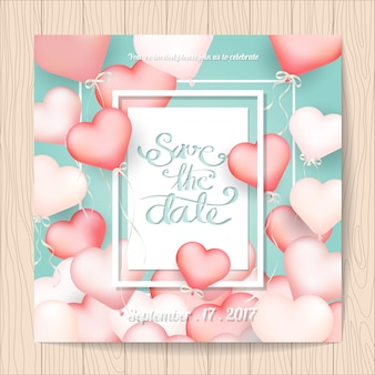 Wedding invitation with heart ballons frame