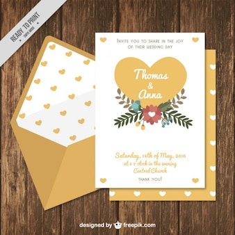 Wedding Invitation with Hearts