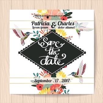 Wedding invitation with hummingbirds