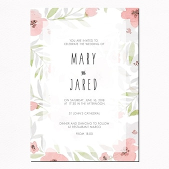 Wedding invitation with leaves and pink flowers