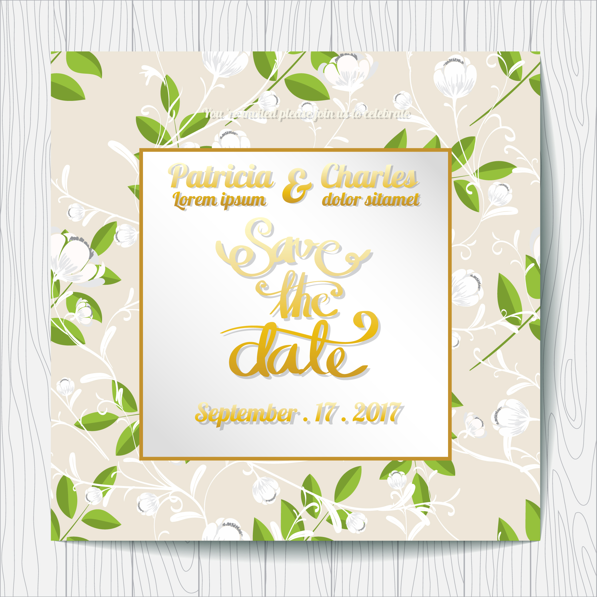 Wedding invitation with leaves background