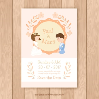 Wedding invitation with newlyweds and orange details