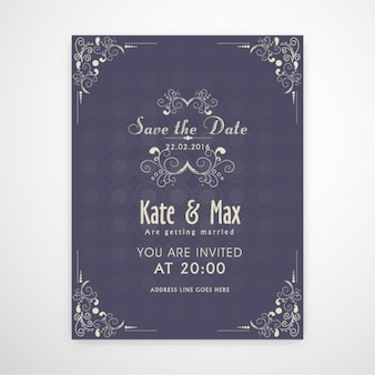 Wedding invitation with ornamental decoration