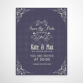 Wedding invitation with ornamental decoration