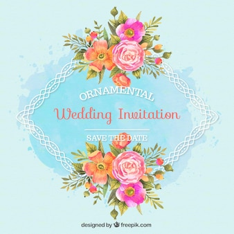 Wedding invitation with ornamental frame and watercolor flowers