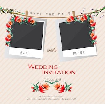 Wedding invitation with photograph template