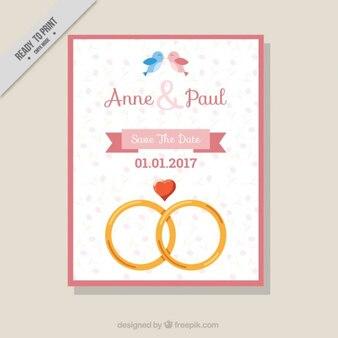 Wedding invitation with pretty rings