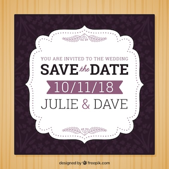 Wedding invitation with purple elements