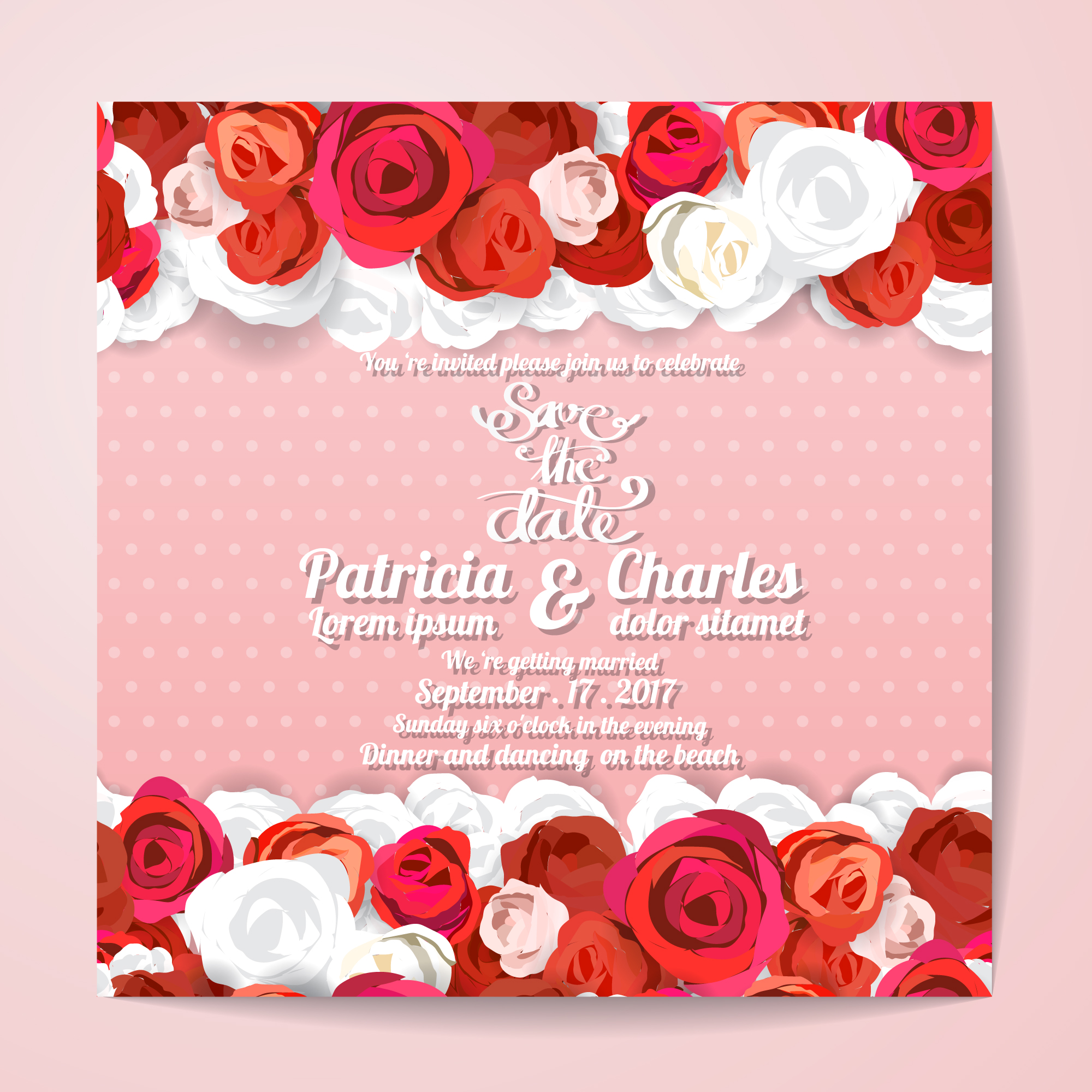 Wedding invitation with red roses design