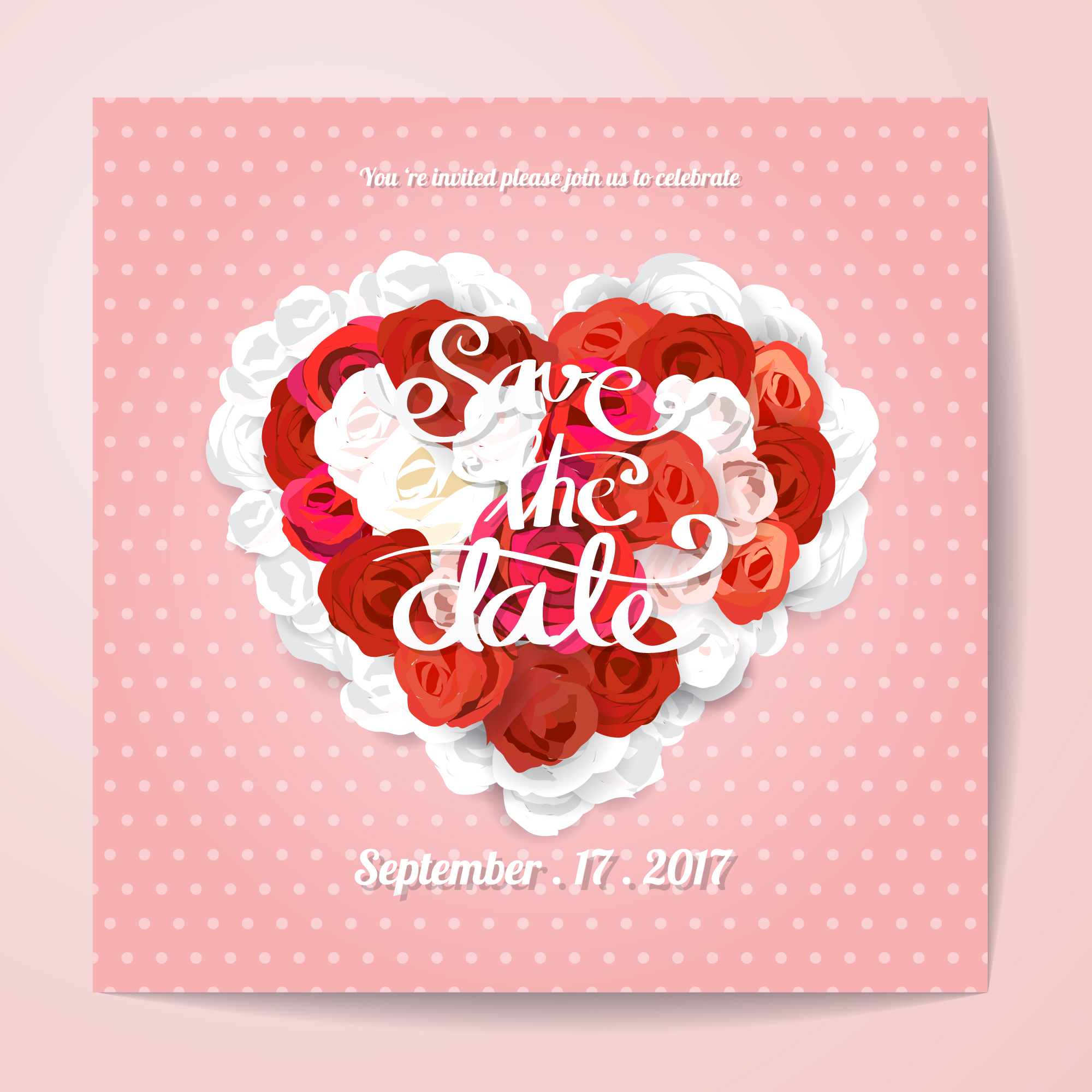 Wedding invitation with red roses heart