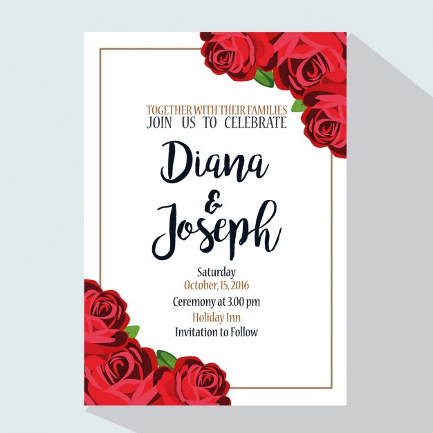 Wedding invitation with red roses